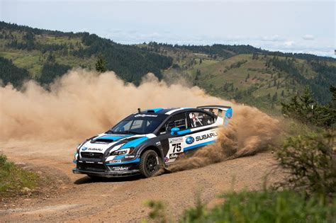 rally subaru subaru driver david higgins takes oregon trail rally