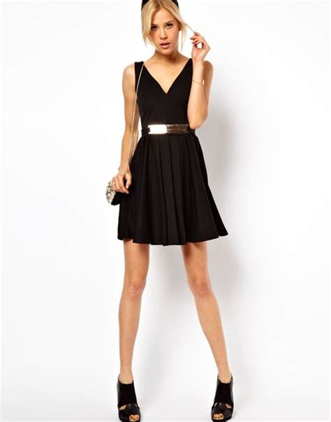 asos asos structured skater dress with gold belt in black