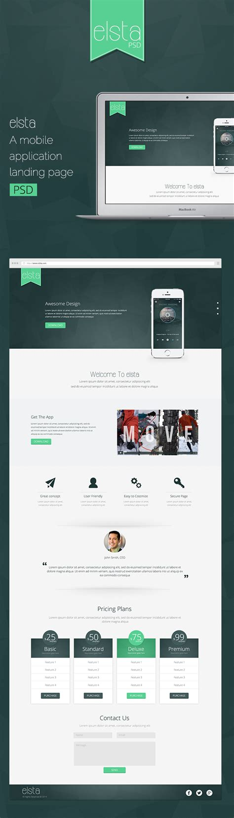 elsta a mobile application landing page free psd on