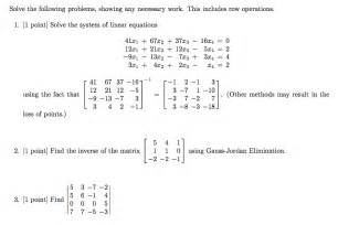 Elementary Matrix Algebra solved solve the following problems showing any necessar