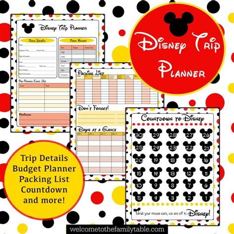 free printable disney planner printable disney vacation planner welcome to the family