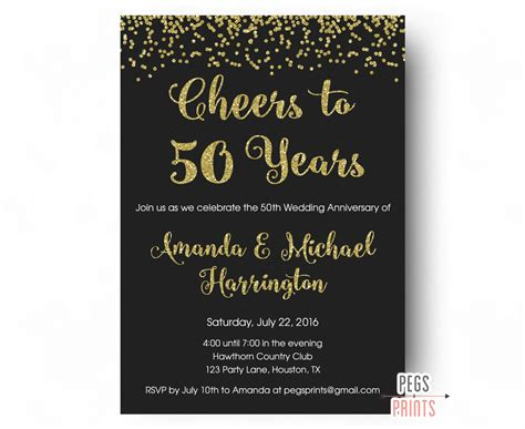 Anniversary Invitations by Cheers To 50 Years Invitation 50th Anniversary Invitation