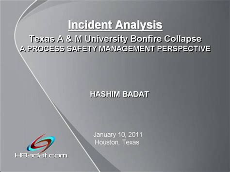 The Texas A M Bonfire Incident Process Safety Management Authorstream Tamu Presentation Template