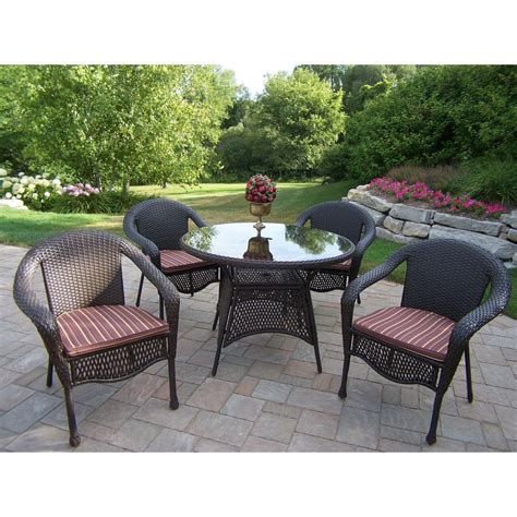 patio wicker dining set oakland living elite resin wicker 5 patio dining set