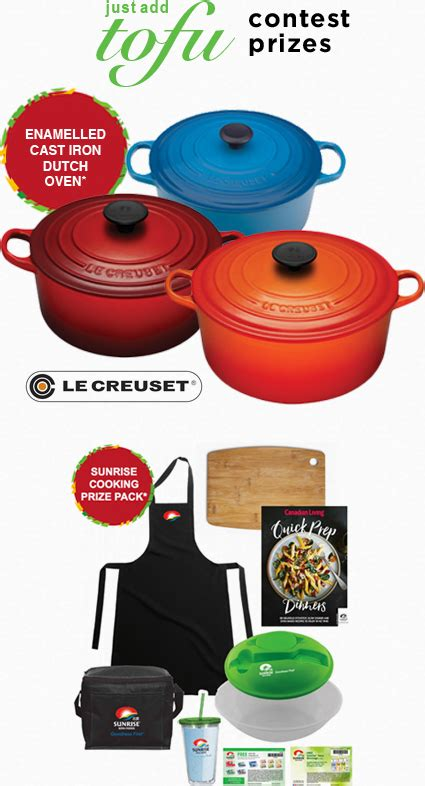 contest prizes soya contest win le creuset oven or