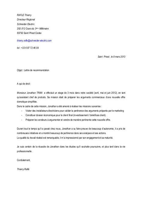 Lettre De Recommandation Commercial Lettre De Recommandation Directeur Commercial Cv Jonathan