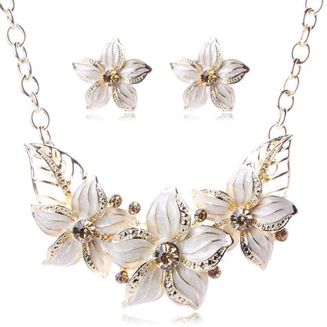gold plated austrian enamel flower jewelry sets costume sapphire jewelry