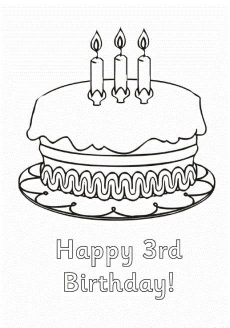 birthday cake coloring pages preschool happy 3rd birthday coloring pages for preschoolers