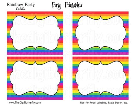 Free Printable Rainbow Labels Thanks For Coming To My 80th Birthday Pinterest Free Free Printable Food Labels Templates