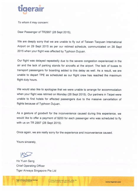 Complaint Letter To Airline Delay Image Gallery Tigerair Letter