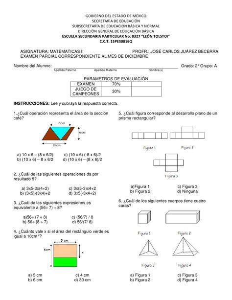 examen primero de secundaria primer bimestre examen matematicas ii segundo bimestre