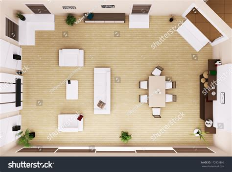 Living Room Table Top View Top View Modern Living Room Interior Stock Illustration