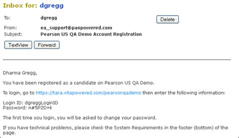 password change email template candidate login procedures pearson assessment support