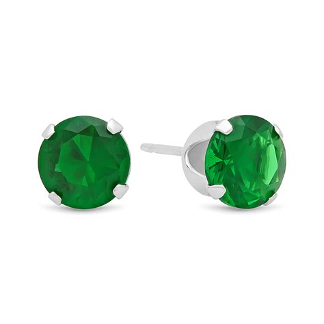 Green Emerald Cz Ring 135 brilliant cut simulated emerald green cz sterling silver
