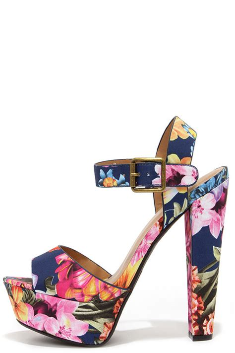 Or Not Ravels Big Flower Shoes navy blue sandals floral heels platform sandals