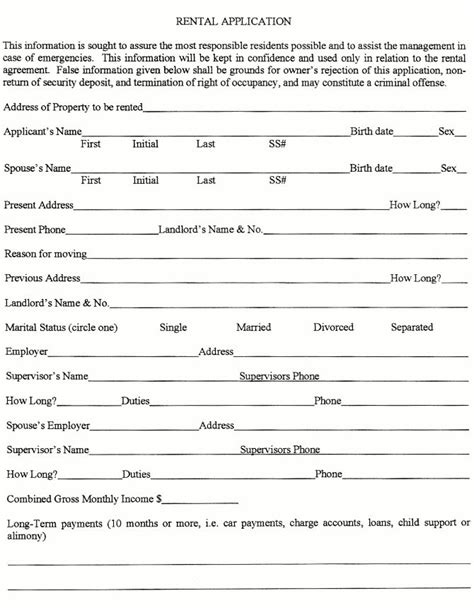 real estate rental application form template 501 best images about printable agreement on