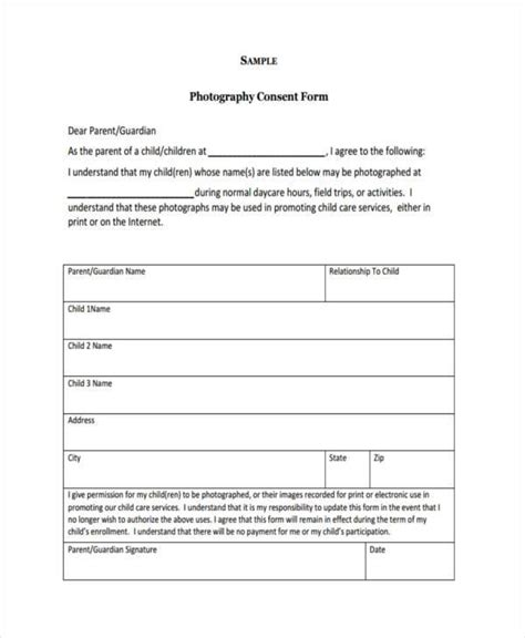 Photo Release Form Template For Children release form templates
