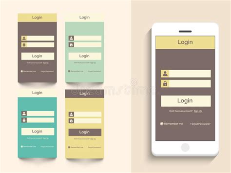 layout login download concept of mobile user interface with login layout stock