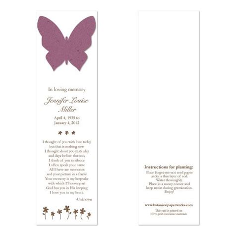 memorial bookmarks butterfly memorial bookmarks special memorial gifts