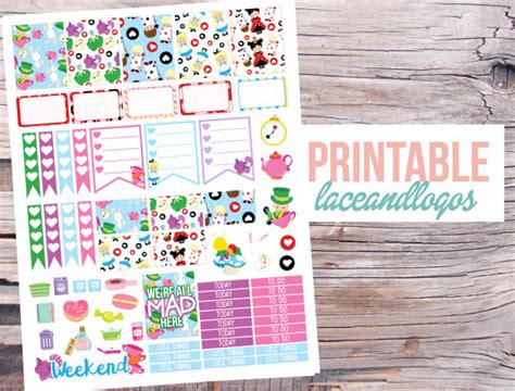 printable glass stickers printable planner stickers alice in wonderland looking glass