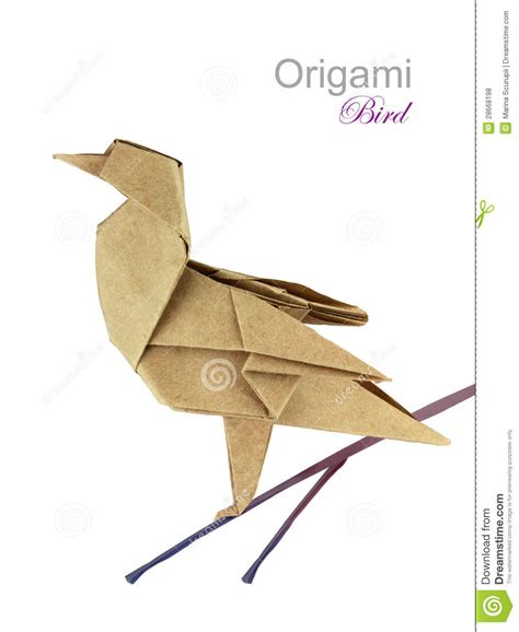 Brown Origami Paper - brown paper origami bird stock illustration
