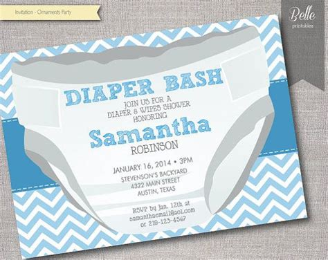 Diapers And Wipes Shower Invitation by Chevron Blue Diaper Bash Baby Shower Invitation Diy