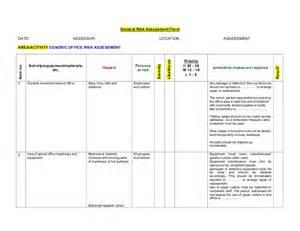 activity risk assessment template generic office risk assessment