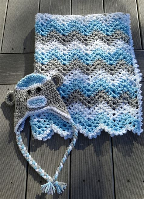 Butikmurahstore Kemeja Stripe Momon Blue 2 baby boy chevron ripple baby crochet blanket afghan