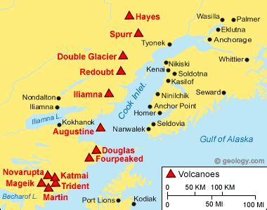 map of volcanoes in the united states redoubt volcano alaska map facts and eruption pictures