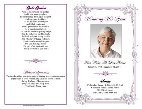 memorial program templates funeral program templates purple frame