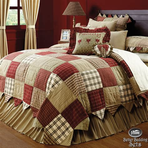 quilted bedding sets country red green patchwork twin queen cal king quilt