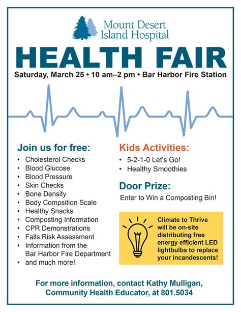Free Health Fair Giveaways - mdi hospital health fair hancock county calendar