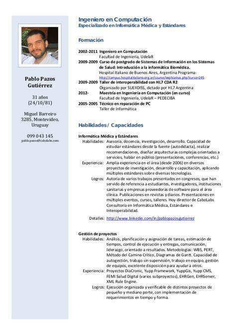 Modelo Curriculum Vitae Americano Pablo Pazos Curriculum Vitae 2013 05 17