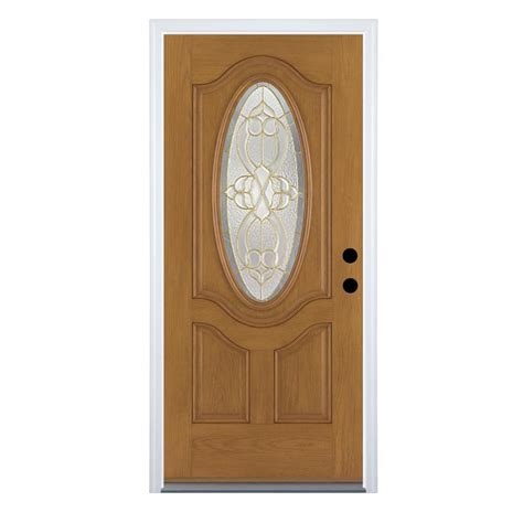 Stain For Fiberglass Exterior Doors Shop Therma Tru Benchmark Doors Willowbrook Right Outswing Medium Oak Stained Fiberglass