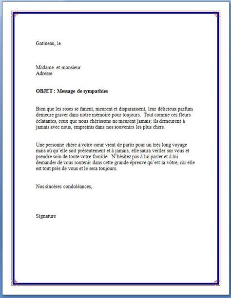 Exemple De Lettre Famille Lettre Condol 233 Ances Famille Proche Mod 232 Le De Lettre