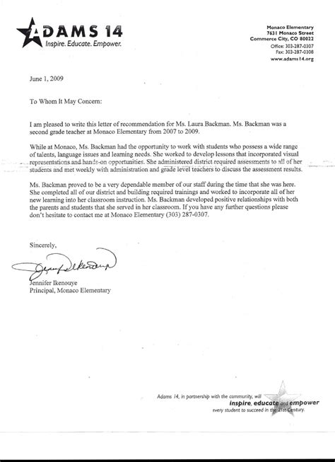 Recommendation Letter For Principal Letter Of Recommendation From Principal Ikenouye