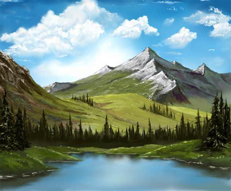 bob ross painting mountain ridge ボブと一緒に 山の湖 を描いてみた テク さんのイラスト ニコニコ静画 イラスト