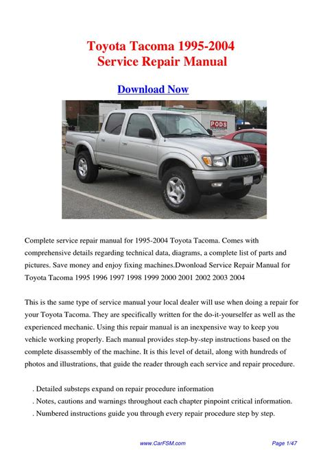 service manual 1995 toyota tacoma xtra engine workshop manual toyota tacoma 4runner t100