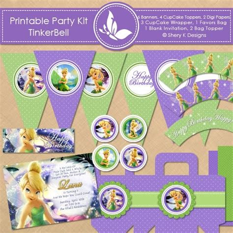printable tinkerbell banner shery k designs free printable party kit tinkerbell