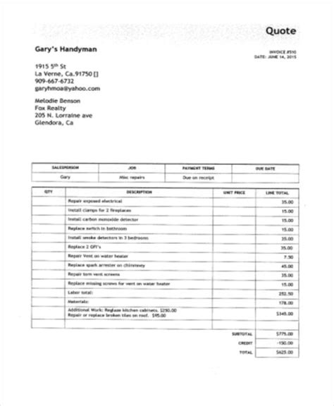6 Handyman Invoice Template Free Sle Exle Format Download Free Premium Templates Free Handyman Invoice Template