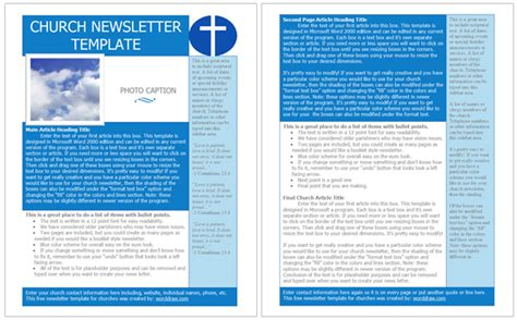 free church newsletter templates worddraw com