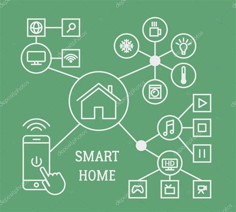 smart home infographic concept with smart phone and linear