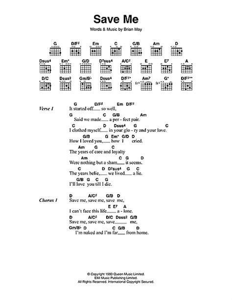 Save Me sheet music by Queen (Lyrics & Chords – 114072)
