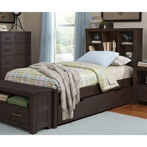 bed with bookshelf ne kids highlands twin bookcase bed with trundle in
