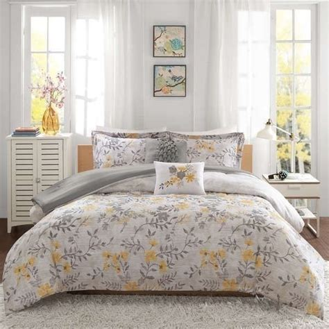 yellow comforter twin new twin xl full queen bed yellow gray grey floral leaves
