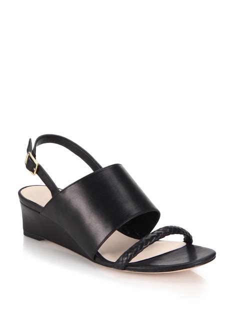 cole haan black wedge sandals cole haan lise braided leather wedge sandals in