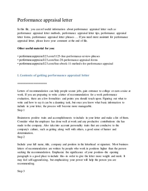 Performance Appraisal Letter For Employee Sle Performance Appraisal Letter