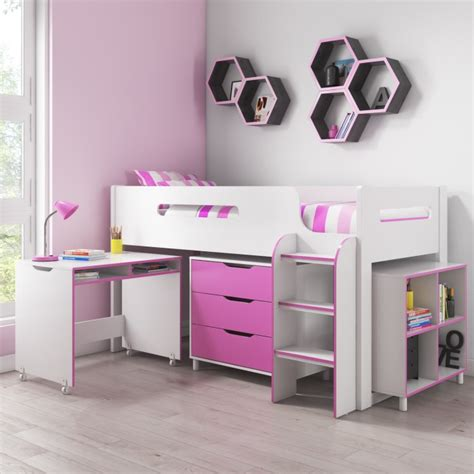 cabin beds for girls dynamo girls pink cabin bed ladder can be fitted either