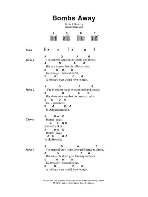 printable lyrics to jingle bombs the police bombs away sheet music at stanton s sheet music