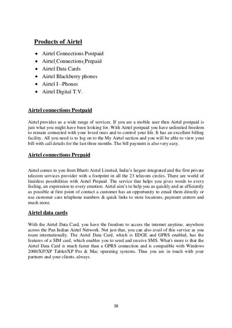 application letter for company sim card bharati airtel project 1